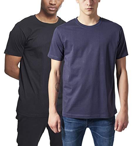 Urban Classics Herren Basic Tee T-Shirt, Mehrfarbig (Navy & Black (2-Pack) 00613), (Herstellergröße: X-Small) (2er Pack)