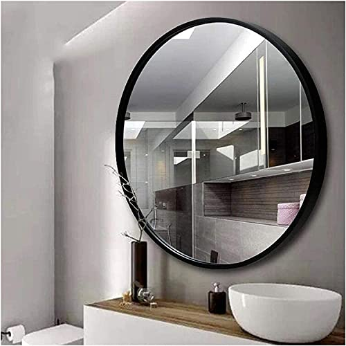 Gymqian Espejo de Pared de Baño | Espejo Redondo Colgante | Espejos de Chimenea para Sala de Estar 40 cm 50 cm 60 cm 70 cm | Diseño Elegante Moderno/Moderno, M de Metal Negro Exquisito / 60