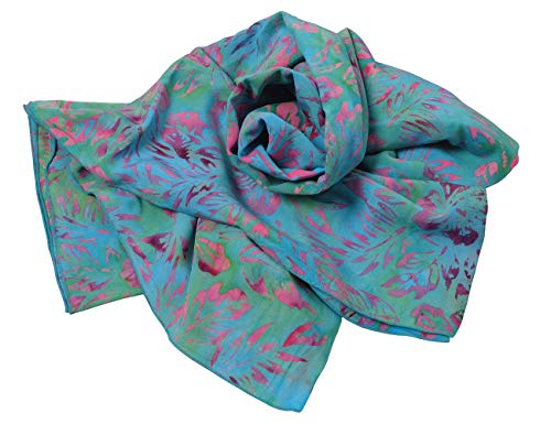 kadoh Sarong strandkleed strandlaken Länge 180 cm/Breite 120 cm groen/turquoise - bladeren roze