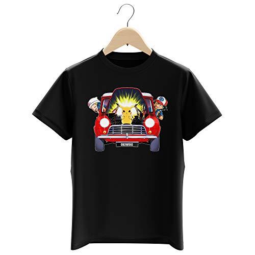 Okiwoki T-Shirt Enfant Garçon Noir Parodie Pokémon - Pikachu, Sasha et Aurore - Pika dépannage (T-Shirt Enfant de qualité Premium de Taille 9-10 Ans - imprimé en France)