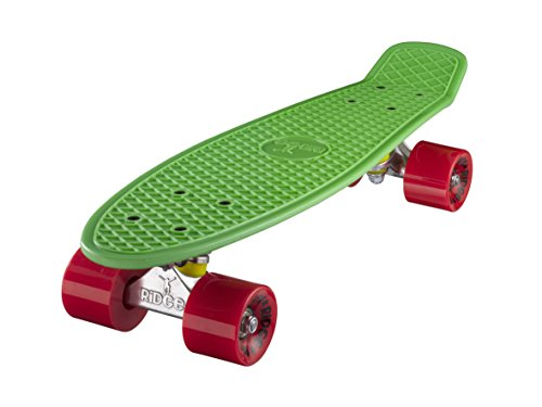 Ridge Skateboard 55 cm Mini Cruiser Retro Stil In M Rollen Komplett U Fertig Montiert Grün Rot,