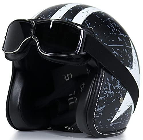 xiaojian Adulto 3/4 Casco De Motocicleta De Cara Abierta Aprobado por ECE Medio Casco De Motocross Vintage con Gafas De Moda para Hombres Mujeres Ciclomotor Scooter Ciclismo De Calle C,L=59-60CM