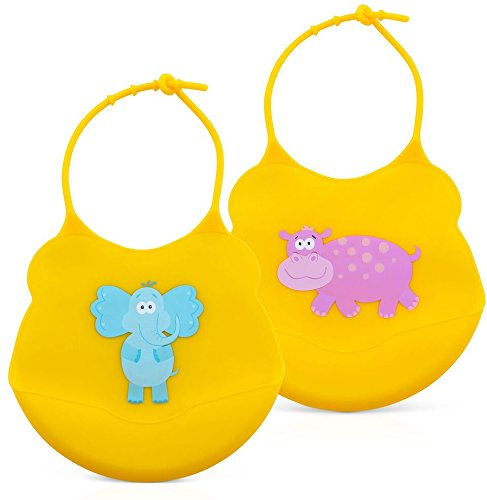 Silicone Baby Bibs (set of 2) by Coreega | Non-Toxic, Food Grade, BPA-Free + Hypoallergenic | Soft, Adjustable Bib for Infant or Toddler Keep Kids Clean with food Catcher Pocket | 2 Waterproof Bibs