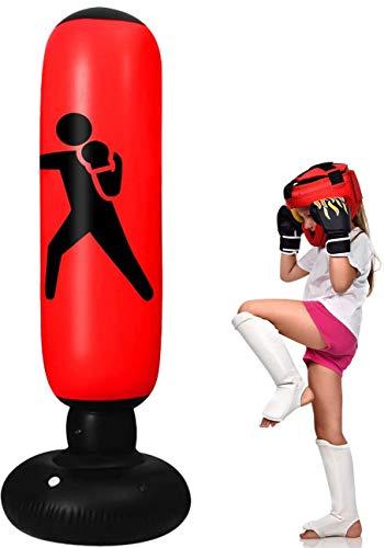 Sac de boxe gonflable pour enfants Sac de frappe de 160 cm avec support Sac de frappe autoportant Robuste pour la boxe Pratiquant l'entraînement de karaté pour les jeunes et les Intérieur et extérieur