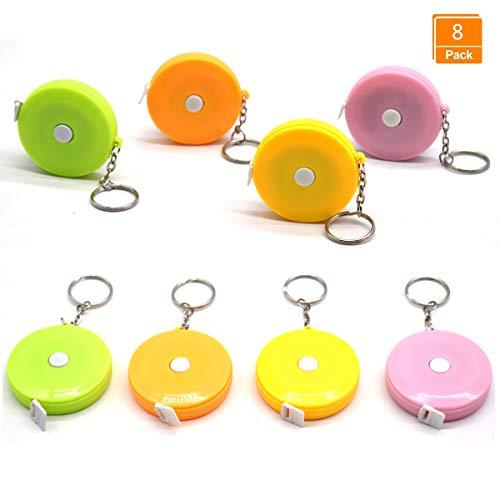Yueser 8 Stück Maßband Schlüsselbund Mini Automatisch versenkbare Bandmass mit Edelstahl Schlüsselanhänger Messwerkzeuge