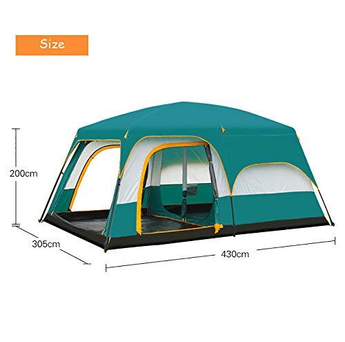 HOOWOOS 2 Chambres Grande Tente 100% imperméable pour la randonnée Plage Tente de Camping en Plein air avec puit de lumière Peut accueillir 8-12 Personnes