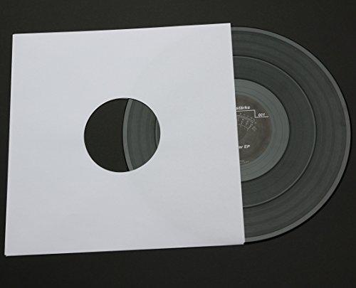 """50 St. Single 7"""" Deluxe Innenhüllen 180x180 mm reinweiß für Vinyl Schallplatten ungefüttert 90 gr Papier mit Innenloch"""