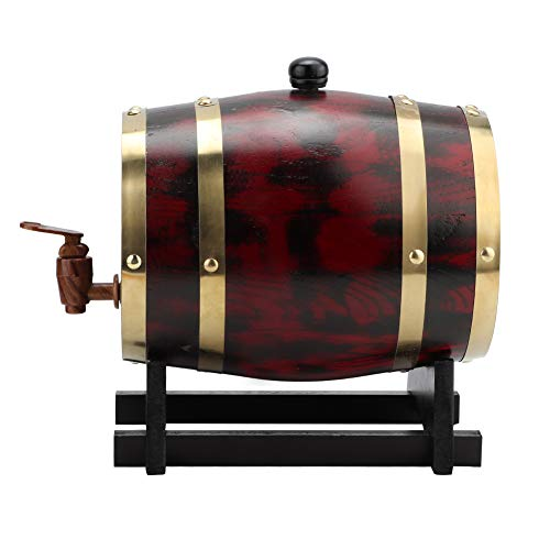 Camidy Barril de Vino de Madera de Roble Dispensador de Cerveza de Vino Cubo Grifo Cerveza Barril Cubo 3L Equipo de Elaboración de Cerveza