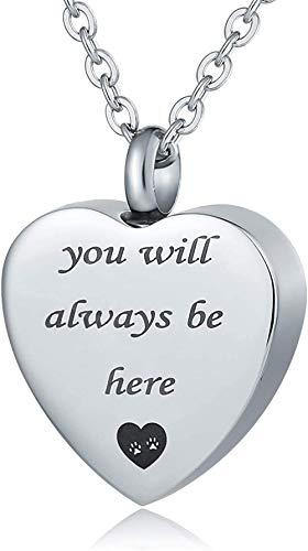 VVHN Pulsera Unisex de Acero Inoxidable para Hombre y Mujer con Tallado en Forma de corazón Siempre estarás aquí Cenizas con Colgante Tallado