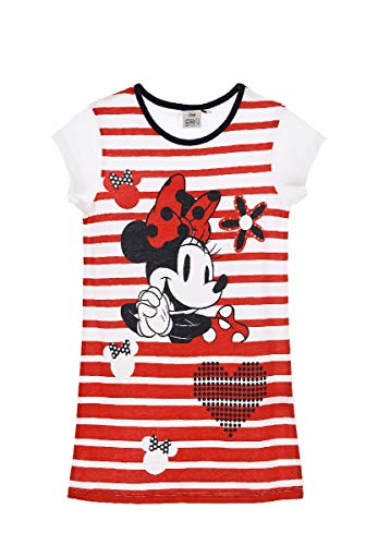 Minnie-Mouse Schlafshirt Kinder Nachthemd Kurzarm Sleep-Shirt, Farbe:Rot, Größe:98 (3 A)
