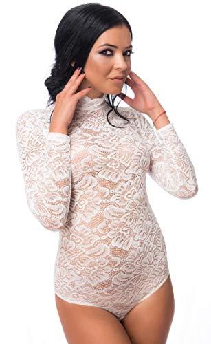Evoni String Body voor dames | kanten body met halve kraag | transparante body met lange mouwen | bodysuit verschillende kleuren en maten | dames lingerie | bloemen kant | sluiting haak | elegante jumpsuit