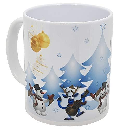 Kalfea - Tazza natalizia con renne, motivo: pupazzo di neve, ballerini e albero di Natale, idea...