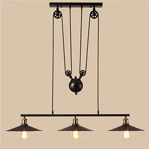 Luminaire Suspension Industrielle Poulie Rétro Lustre 3 Lumières Vintage Lampe de Plafond Abat-jour en Métal E27 Noir Décoration D'éclairage