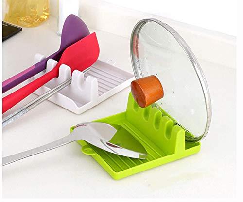 YFOX Supporto per utensili da cucina con cuscinetto a goccia per posate multiple e resistenti al calore,antiscivolo,per cucchiai,mestolo,pinza e altri supporti per posate,2 pezzi (bianco+verde)