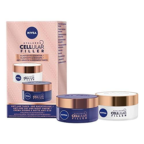 NIVEA Cellular Elasticity Duo Pack, NIVEA Cellular Elastizität Tagescreme und Nachtcreme, Anti Aging Gesichtscreme Multipack, Anti Falten Creme, Faltencreme für Frauen