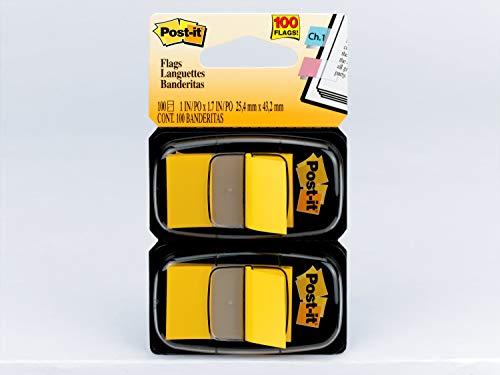 Marcadores de Página Adesivos Post-it Flags Reposicionáveis Amarelo 25,4 mm x 43,2 mm - 100 folhas (50 cada)