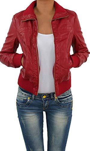 Damen Lederjacke Kunstlederjacke Leder Jacke Damenjacke Jacket Bikerjacke Blouson in vielen Farben S - 4XL Rot S