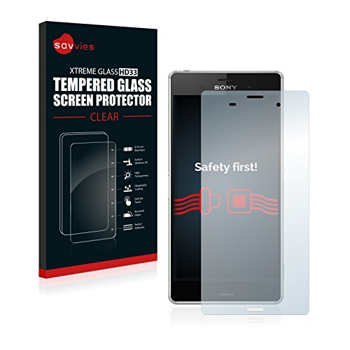 savvies Protector Cristal Templado Compatible con Sony Xperia Z3 D6643 Protector Pantalla Vidrio, Protección 9H, Pelicula Anti-Huellas