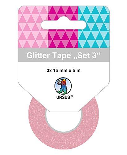Ursus 58830003 Glitter Tape Set, 3 Rouleaux de 15 mm x 5 m, Lilas/Violet/Turquoise