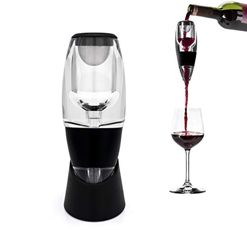 Granny's Kitchen Aireador de Vino Tinto - Oxigenator Decantador Istantaneo - Magic Decanter con Filtro y Soporte - Wine Pourer para Cáliz - Wine Aerator