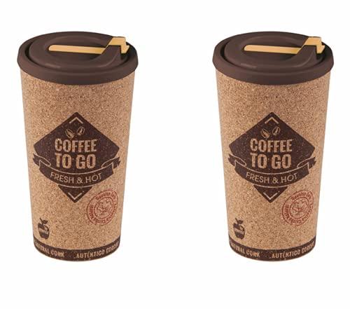Vaso Termo Café Reutilizable 500 ml (2 uds) Taza Termo Portatil Grande Taza con Tapa para Llevar Eco-Friendly Vaso Café con Tapa con Corcho para Oficina Viaje