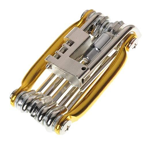 cherrypop Kit de herramientas multifunción para bicicleta multiherramienta herramienta de reparación de neumáticos con destornillador extractor de remache de cadena para bicicleta de carretera