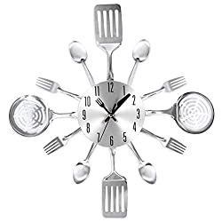 HMANE 12Inch Vintage Wall Clock Metal Mute Utensils Unique Toned Forks Spoons Spatulas Wall Clock for Kitchen Gift - (Silver)