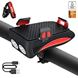 ZKCREATION Bike Lights with Phone Holder Super Bright Bike Front Light USB Rechargeable Bike Tail Light Set Cycle Headlight with...