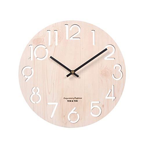 UNILIFE Vintage Reloj De Pared Madera Nordico, Decorativo Estilo Rústico De La Toscana Reloj De Pared Sin Tic TAC Silencioso Ideal para La Casa Oficina Hotel Restaurante