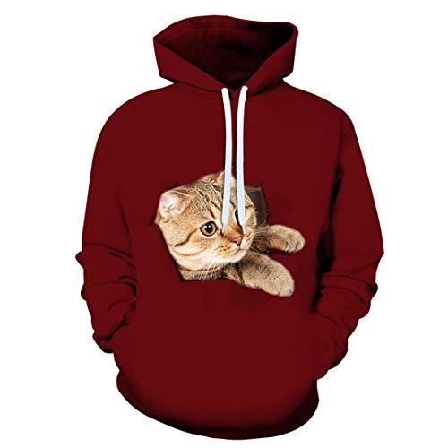Hombres Mujeres Cute Animal Cats 3D Print Sudadera Pullover Moda Harajuku Hoodies Parejas Ropa Picture color2...