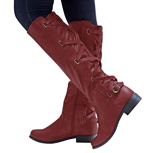 showsing-shoes Damen wasserdichte Stiefel mit Kreuzriemen, Lange Stiefel, Damen Gummistiefel, leichte Regenstiefel, Winter, Schnee, hohe Stiefel, Cowboy, warme Schuhe Einheitsgröße Wein