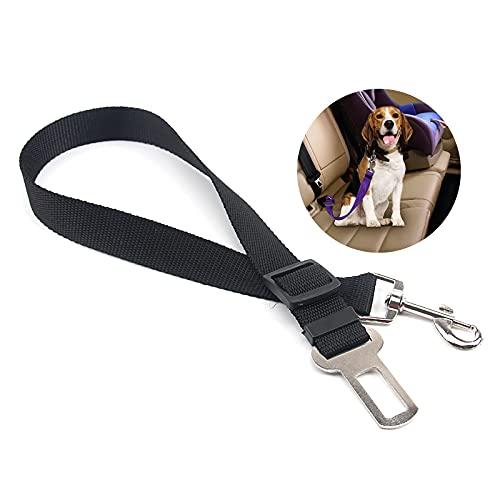 Wulivon Arnés de seguridad para perro de nailon ajustable, cuerda de tracción, amortiguador de seguridad, cinturón de viaje, cinturón de seguridad para perro, coche o gato, color negro