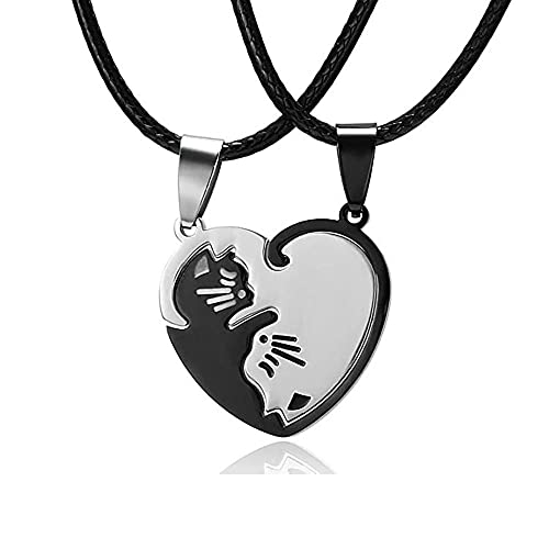 Collar Pareja Gatos,Collar Pareja Puzzle,Colgante Gato de Acero Inoxidable Collar Collar de La Amistad para Hombre Mujer Amantes Amigos Parejas