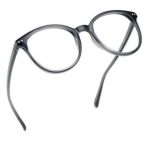 LifeArt Blu-ray-Brillen, Lesebrille für Computer, transparente Linse, Kopfschmerzen reduzieren & trockene Augen verhindern, Mode für Männer/Frauen +0.50
