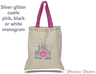 cb40ca46b Personalized Silver glitter castle design on a natural canvas tote bag with  pink handles for a