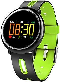 WJFQ Reloj Inteligente SmartWatch Impermeable Inteligente de Pantalla Color del Reloj rastreador de Ejercicios a Prueba de Agua Reloj de Bluetooth de los Deportes Hombres Mujeres (Color : Green)