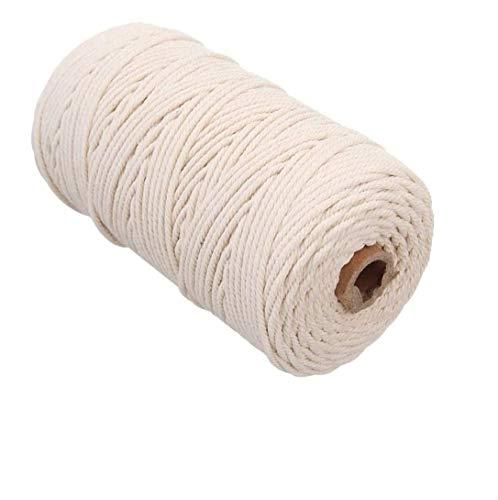 Sinwind Makramee Garn, Baumwollkordel weiß, Naturliches Baumwolle Garn, Baumwollgarn für DIY Handwerk Basteln Wand Aufhängung Pflanze Aufhänger (2mm x 100m)