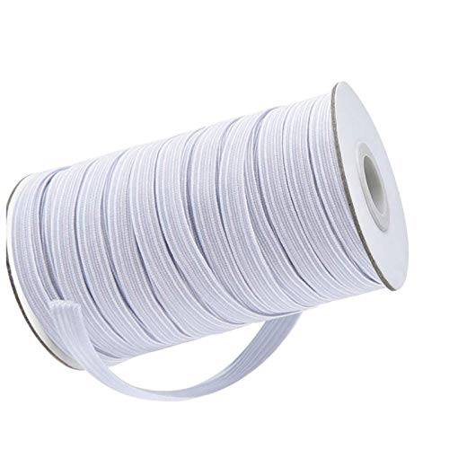 NIKB Flat 1/4 inch White Elastic for Sewing 80-Yards Flat White Elastic Bands for Sewing 1/4 inch White 1/4 inch Elastic Cord for Masks/White Braided Elastic Cord/White Elastic Rope for Masks