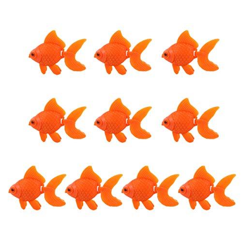 Balacoo 10 Stück Aquarium Gefälschte Fische Künstliche Schwimmende Fische Lebensechte Plastik Bewegliche Orange Goldfisch Realistische Fisch Ornament Dekor für Aquarium Aquarium