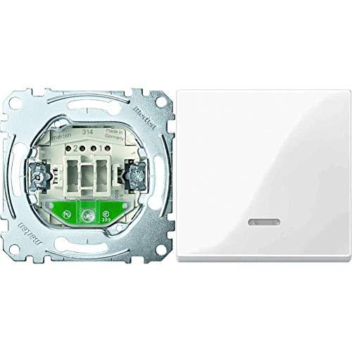 Merten MEG3106-0000 Aus/Wechsel-Kontrollschalter & 436019 Wippe mit Kontrollfenster, polarweiß glänzend, System M
