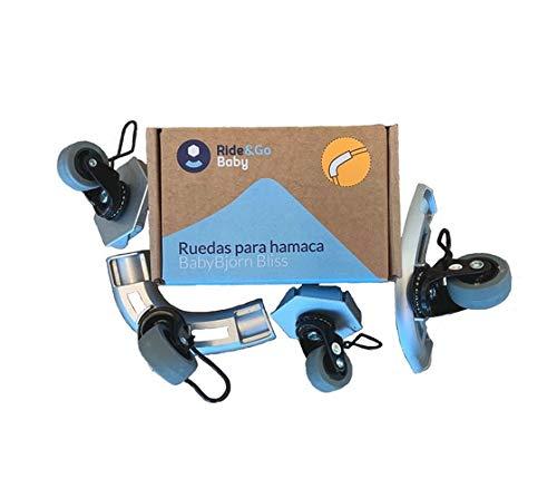Ride&Go - Ruedas compatabiles para Hamaca Babybjörn - Ruedas para hamacas de bebé - Hamaquitas para bebés con ruedas. Hamaca para bebé balacín (Base Curva)