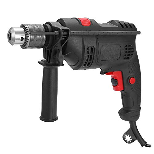 FGVBC 550W Hammer Drill, Impact Drill 3000 RPM Hand Electric Cored Percussion Drill, Variable-Speed Trigger 360° Rotating Handle for Brick, Wood, Steel, Concrete, Masonry