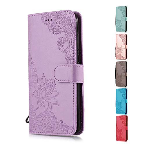Funda Libro para Samsung Galaxy S7 Edge Carcasa de Cuero PU Premium Encaje de Flores de Mandala Flip Wallet Case Cover con Tapa Teléfono Piel Tarjetero - Violeta