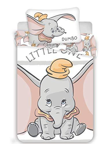 Disney Dumbo - Juego de ropa de cama para bebé (2 piezas, 100% algodón, tamaño: 100 x 135 cm, 40 x 60 cm, certificado Öko-Tex Standard 100)