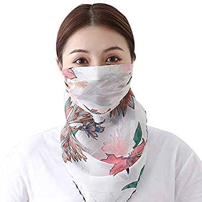 Fenfangxilas Fashion Unisex Mouth Face Cover Fashion Printed Outdoor Cycling Breathable Women Anti UV Sun Scarf Face Safety Face for Dust Protection - Lotus White