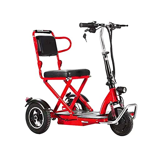 ACwhisper 3 Ruedas Scooter Eléctrico Plegable Para Personas Mayores Minusvalido Silla de Ruedas eléctrica para discapacitados Patinete eléctrico Ligero Portátil Scooter movilidad para Viaje aire libre