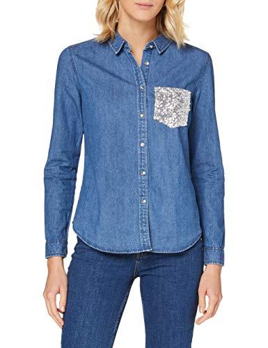 Springfield 5.Frq.Camisa Denim Lentej-C/15 Blusa, Azul (Medium_Blue 15), 40 (Tamaño del Fabricante: 40) para Mujer