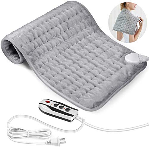 Heating Pad, Updated Electric Heating Pad for Arthritis Pain Relief, 12' x 24' Ultra-Soft Heat Pad with Dry & Moist Heat Therapy, 6 Temperature Settings, Auto Shut-Off, 4 Heat Settings - Washable