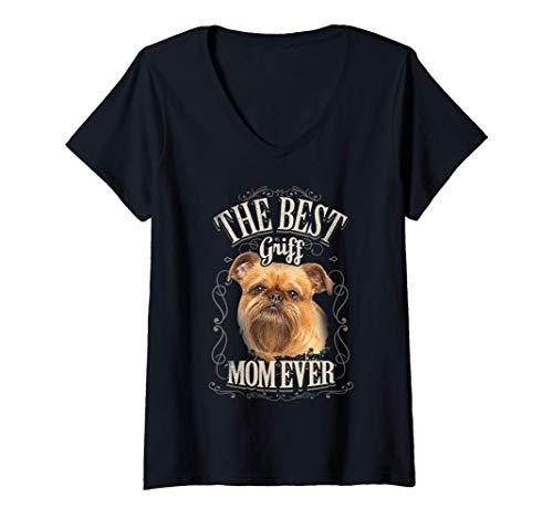 Mujer Best Griff Mom Ever Grifón de Bruselas Perro Mujer Vintage Camiseta Cuello V