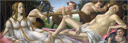 Posterlounge Leinwandbild 150 x 50 cm: Venus und Mars von Sandro Botticelli - fertiges Wandbild, Bild auf Keilrahmen, Fertigbild auf echter Leinwand, Leinwanddruck